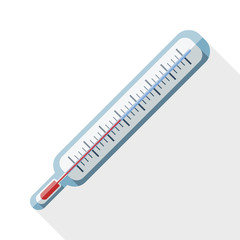 Thermometer flat icon with long shadow on white