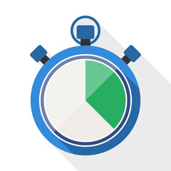 Stopwatch flat icon with long shadow on white background