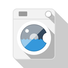 Washing machine flat icon with long shadow on white background