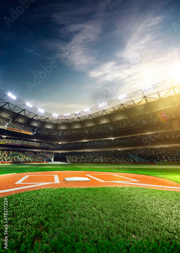 Aluminium Sportwinkel Professional baseball grand arena in sunlight