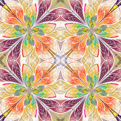 Symmetrical pattern in stained-glass window style. Green, yellow
