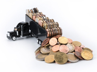Lastwagen mit Münzen - Euro