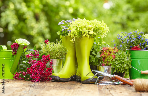 Leinwanddruck Bild Outdoor gardening tools on old wood table