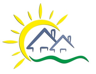 Logo of cottages with the sun