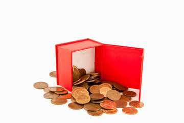 Russian coins in a red box. Isolate.