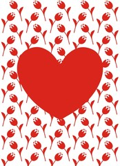 Vector greeting card with red heart, red flowers