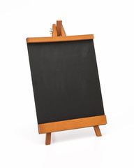 Blank chalkboard with wooden stand.