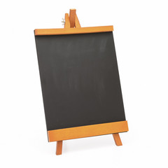 Blank black board with wooden stand