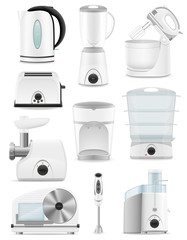 set icons electrical appliances for the kitchen vector illustrat