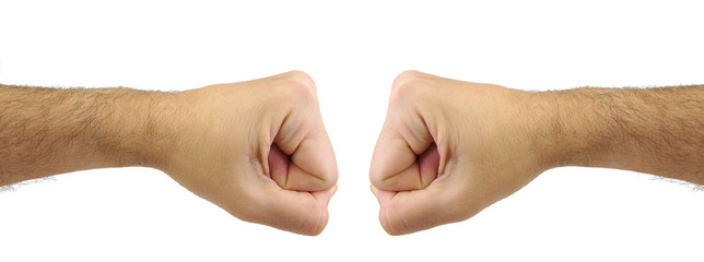 Two men fists punching each other. Confrontation gesture