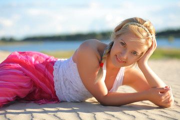 girl on the sand.