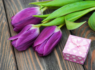 Tulips with gift box