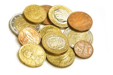 Griechische Euro-Münzen, isoliert, freigestellt