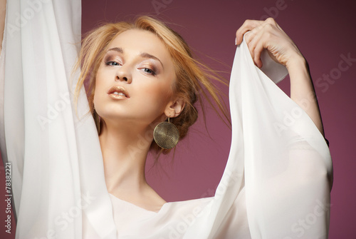 canvas print picture Beautiful woman with arms draped in white chiffon