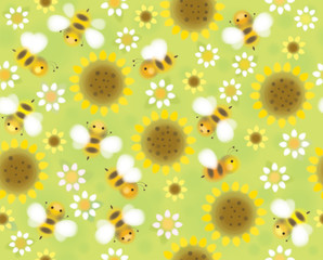 Vector seamless cute pattern flowers and bees, soft, blurred eff