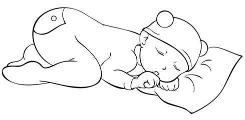 schlafendes Baby Ausmalbild
