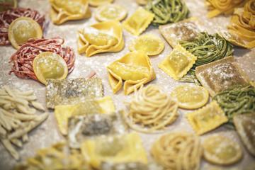 Different types of italian fresh pasta