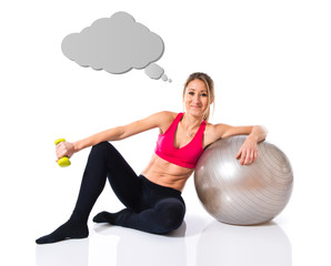 Woman doing sport with fitball