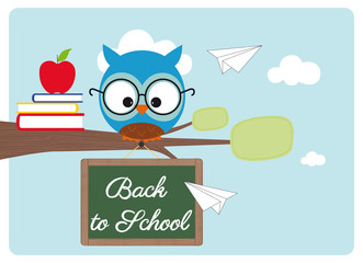 back to school, owl with glasses, books and red apple