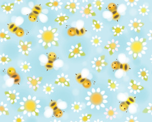 Vector  seamless  cute pattern chamomiles and bees, soft, blurre