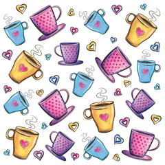 Coffee cups pattern on white background