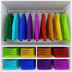 Colorful clothes hanging and stack of clothing  in wardrobe