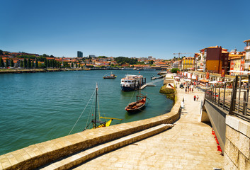View of the Douro River and embankment in Porto, Portugal.