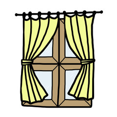 wooden window and yellow curtain
