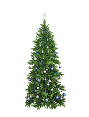 the fir-tree decorated blue spheres, beads lamps, isolated