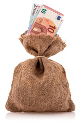 Money bag with euro currency