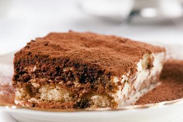 Tiramisu Cake selective focus