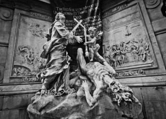 Black and white plague column in Vienna