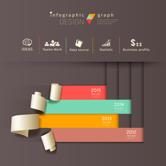 Infographics graph paper roll vertical design