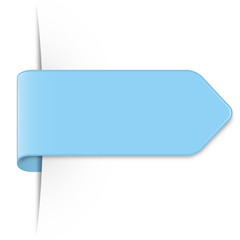 Long light blue arrow sticker with shadow and space for text