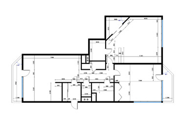draft plan of the  three-room apartment with sizes