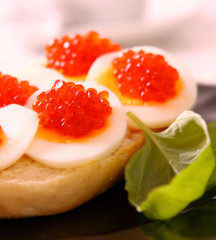 Fresh red caviar.