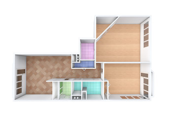 3D rendering. Model of the three-room apartment,