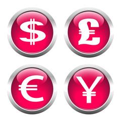 Set of buttons for web, dollar, euro, pound, yen.