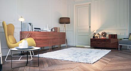 Zimmer in Altbauwohnung mit modernen Möbeln
