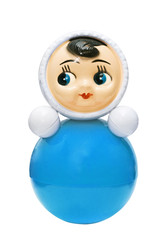 Bright blue roly-poly toy on the white