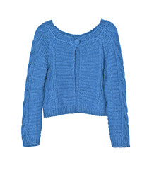Bright female blue sweater on a white background