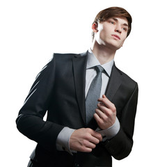 Portrait of young business man isolated over white