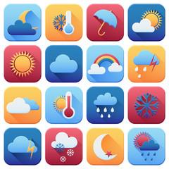 Set of weather icons. Flat style