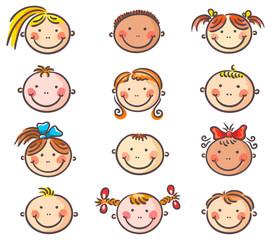 Happy cartoon kids faces