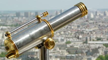 Sightseeing telescope on Eiffel Tower, Paris, France