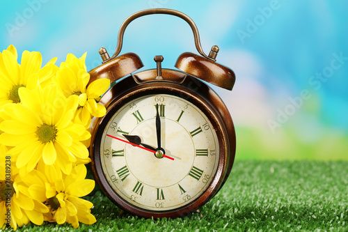 canvas print picture Alarm clock on green grass, on nature background