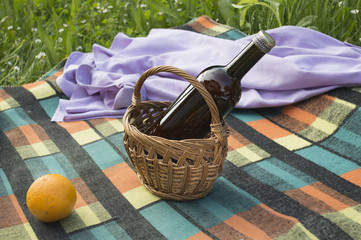 Bottle in basket with orange and shirt on picnic blanket