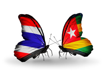 Two butterflies with flags Thailand and Togo