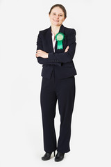 Full Length Portrait Of Female Green Party Politician Wearing Ro
