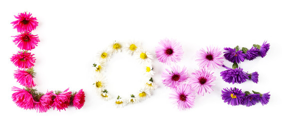 Love word formed with little flowers isolated on white